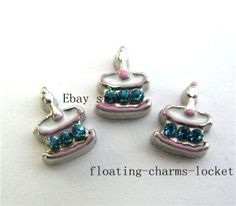 10pcs BIRTHDAY CAKE  Floating charms For Memory Glass Locket free shipping FC650 #LocketCharms
