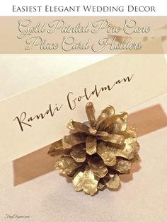 Easy Elegant Wedding Decor, Gold Painted Pine Cone Place Card Holders   FrugElegance   www.frugelegance.com