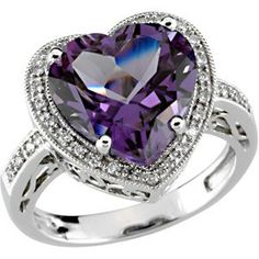 14kt White Amethyst & 1/6 CTW Diamond Ring