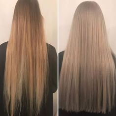 Before and after by Hannah. Icey blonde finish