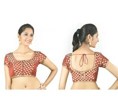 Maroon padded blouse with lace formation on the back - Blouses - Saree,Blouse & more