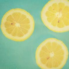 Lemons IV - 8 x 8 Fine Art Photograph - yellow green teal mint citrus lemon fruit kitchen food home decor print. $30.00, via Etsy.