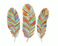 Trois plumes colorées imprimer à partir d'une aquarelle originale. Nurcery…
