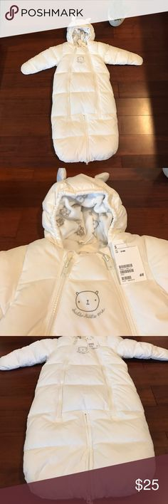 Baby Bundler bear NWT from H&M size 2-6 months 3 zippers to undress and one to change the diaper.  Even has mittens where you can close or open to keep warm or have their hands free.  Super cute and cozy H&M One Pieces Bodysuits