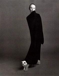 Grace Coddington wearing Comme des Garçons photographed by Steven Meisel for Vogue Italia, October 1992