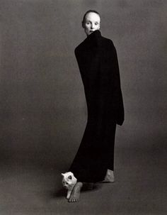 Grace Coddington wearing Comme des Garçons photographed by Steven Meisel for Vogue Italia, October 1992