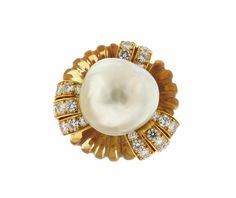 Continental 18K Gold Diamond South Sea Pearl Carved Citrine Ring Featured in our upcoming auction on February 7 2017!