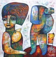 YELLOW BIRD artwork by Dan Casado outsider folk art