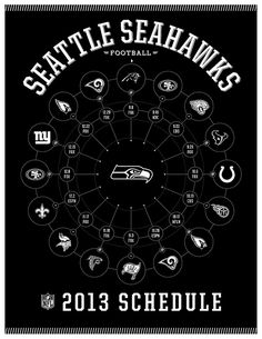 Seattle Seahawks 2013 Schedule -football season is coming up!!! We will be at the sept 22 game! My anniversary gift to kenny, shh he doesnt know yet!!