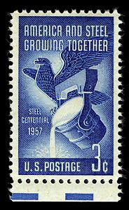 This stamp commemorated the centenary of the Steel Industry in America and honored American steel workers.