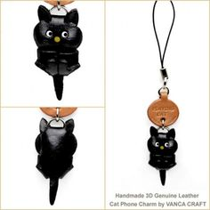 BLACK PLAYING JAPANESE LEATHER CELLULARPHONE CHARM CAT. GENUINE 3D LEATHER IS MADE BY SKILLFUL CRAFTSMEN OF VANCA CRAFT IN JAPAN.
