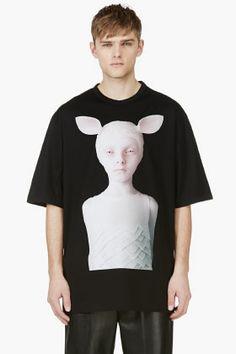JUUN.J Black Oversize Oleg Dou Graphic T-shirt for men | SSENSE