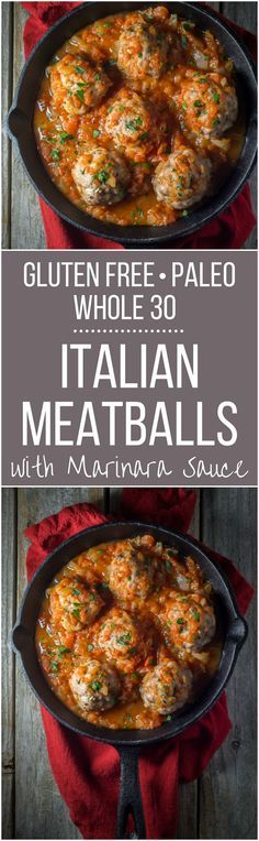 Unbelievably easy Oven Baked Paleo Italian Meatballs! (Gluten Free and Whole 30 too) Perfect for a weeknight dinner and on the table in LESS than 30 minutes