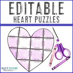 EDITABLE Heart Puzzle | Mother's Day Activities for Almost ANY Topic! | 1st, 2nd, 3rd, 4th, 5th, 7th, 8th grade, Activities, English Language Arts, Fun Stuff, Games, Homeschool, Math, Middle School, Valentine's Day