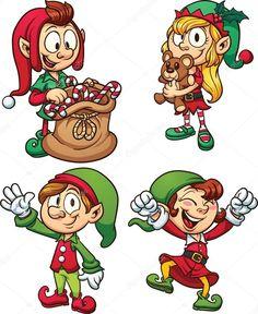 Set of four joyful cartoon Christmas elves royalty-free stock vector art Christmas Yard Art, Christmas Door Decorations, Christmas Drawing, Merry Christmas And Happy New Year, Christmas Elf, Christmas Crafts, Christmas Cartoons, Christmas Clipart, Elf Drawings