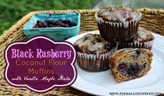 Easy Black Raspberry Coconut Flour Muffins With Vanilla Maple Glaze  #paleo #glutenfree