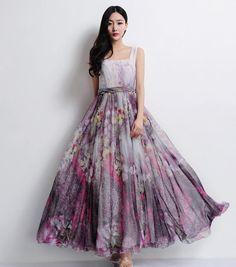 Grey Purple Floral Aline Strap Dress Bohemian Boho by ChineseHut, #style #purple #dress