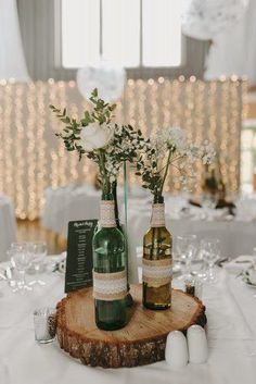 Cheerful Country Wedding Decor Ideas ★ country wedding flowers in grass bottle. Cheerful Country Wedding Decor Ideas ★ country wedding flowers in grass bottles with burlap and lace kelsie low photogra. Country Wedding Flowers, Country Wedding Decorations, Wedding Themes, Wedding Centerpieces, Wedding Bouquets, Table Decorations, Country Weddings, Rustic Weddings, Country Decor