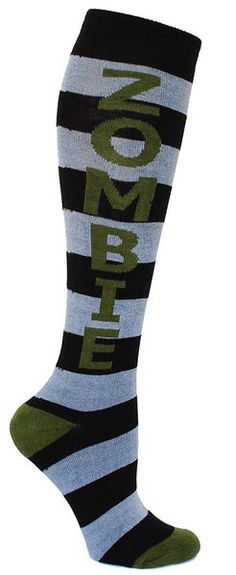 Black & grey striped knee high socks with ZOMBIE in green lettering and cushioned footbed. Unisex design: fits a women's shoe size 7 - men's 13.5.