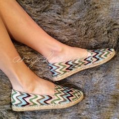"Chevron stripe flats These cute chevron stripe style flats has a crocheted look. Length: 11"", width: 3.5"". Faded Glory Shoes Espadrilles"