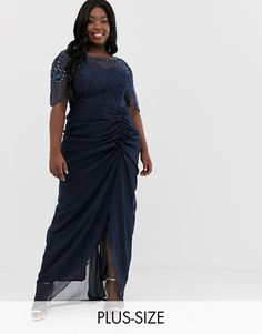 3f0c98d8b2c Virgos Lounge Plus embellished maxi dress with ruched skirt detail in navy.  Plus Size Womens ClothingClothes ...