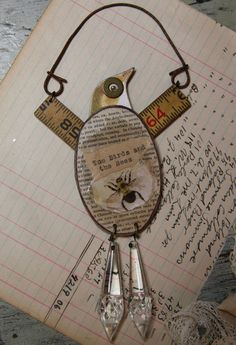 Mixed Media Assemblage BIRD with wooden ruler by VintageSupplyCo