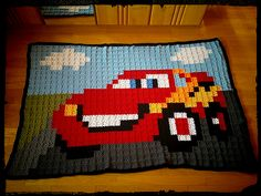 Ravelry: Project Gallery for Granny Square Lightning McQueen pattern by Anna Walker Crochet Car, Crochet Disney, C2c Crochet, Crochet Quilt, Manta Crochet, Crochet Blocks, Tapestry Crochet, Crotchet Blanket, Crochet Square Blanket