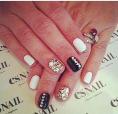Black silver white manicure