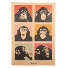 1Pcs Vintage Poster Gorilla Adornment Bar Counter Retro Kraft Paper Posters Movie Poster Wall Stickers Home Decor