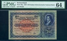 Switzerland  20 Swiss Francs currency banknote