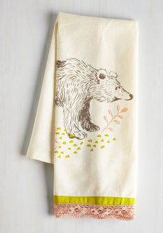 All Good in the Woods Tea Towel in Bear | Mod Retro Vintage Kitchen | ModCloth.com