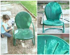 Painting those old metal chairs