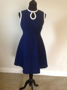 Lovely Aline 70's  Navy And White Trim Vintage Dress by RozzCloset, $25.00