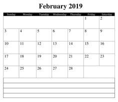 February Printable 2019 Calendar Sunday Monday Tuesday, Calendar Printable, 2019 Calendar, February, Printables, Templates, Stencils, Print Templates, Vorlage