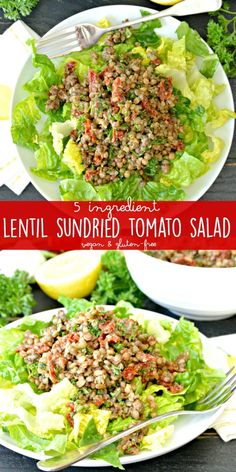 You only need 5 ingredients to make a delicious Lentil Sundried Tomato Salad! It's naturally vegan, gluten-free, and healthy.  via @VeggiesSave