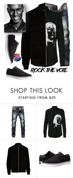 """your vote counts"" by katymill ❤ liked on Polyvore featuring Yohji Yamamoto, River Island, Lakai, men's fashion, menswear, Vote and rockthevote"