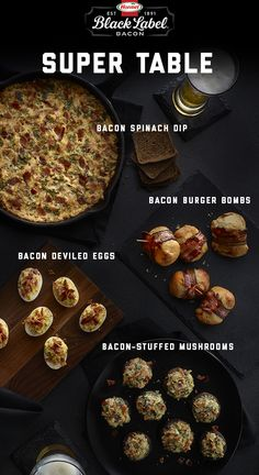 Bacon-ize your big game table. | Super | Appetizers | Entertaining | Bacon | Big Game | Bowl | Poppables | Dips | Condiments | Recipes | Cheese |
