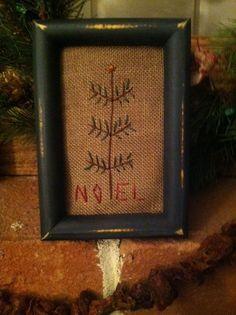 Early Christmas Sampler ~Noel Cross Stitch Tuckaway ~Primitive Tree Ornie~  #NaivePrimitive