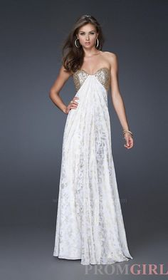 Shimmery white evening gown