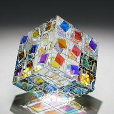 """Optic New Dichroic Glass Crystal Paperweight """"Square Dance"""" Designed by Lapsys 