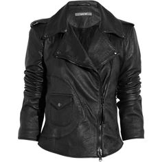 Lot78 Siouxie leather biker jacket ($250) ❤ liked on Polyvore featuring outerwear, jackets, tops, coats, studded leather jacket, biker jacket, black jacket, black moto jacket and black zipper jacket