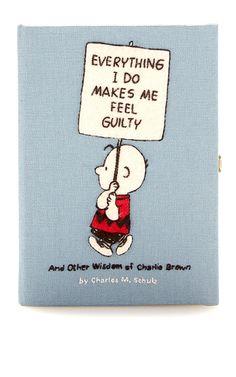 Hellblaue Book-Clutch Charles Schulz Charlie Brown By Olympia Le-Tan Clutch Bag, Charlie Brown, Book Clutch, Denim Purse, Blue Handbags, Denim Handbags, Olympia Le Tan, Unique Purses, Frases