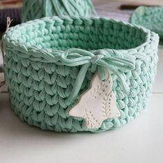 """Работа Ники Ганиной.  Прекрасная корзинка из ментоловой """"Ленты"""". #пряжалента #корзинкаизпряжилента #вяжутнетолькобабушки #ментол #вналичии #handmade #knit Cotton Cord, Baby Shoes, Projects To Try, Shapes, Instagram Posts, Kids, Crochet Baskets, Crafts, Crocheting"""