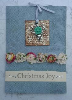 Woodland deer ooak christmas card Free p&p by CartaFiaba on Etsy