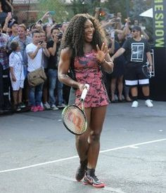 5ce493b7faf52 Serena Williams in her new US Open dress -  Nike event in New York Us