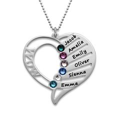 You may select any birthstones that you wish from the list below:<br><br><img border=0 width=100% title=Swarovski Colors src=https://cdn.mynamenecklace.com/images/products/Swarovski_new_MNN.png alt=Swarovski Colors border=0 <a/><br>A birthstone for each child is a special way to honor your family. Engrave up to six names accompanied by their coordinating birthstones on our Heart Shaped Birthstone Necklace f...