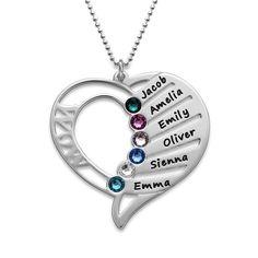 Engraved Mom Birthstone Necklace   MyNameNecklace
