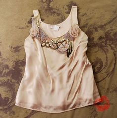 ANTHROPOLOGIE COREY LYNN CALTER BLUSH BEADED EMBELLISHED APPLIQUE BLOUSE TOP 4 S #CoreyLynnCalter #Blouse #anthropologie