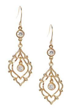 10K Yellow Gold CZ Filigree Dangle Earrings
