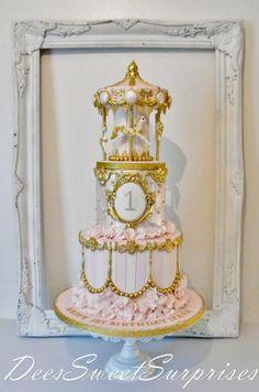 Girls 1st birthday Carousel cake - Cake by Dee